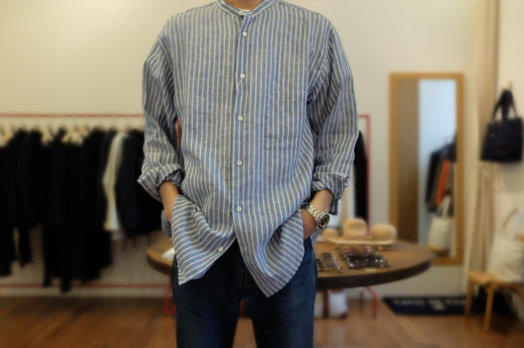 UNIVERSAL PRODUCTS Band collar shirt 4